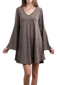 Southern Girl Fashion short dress Brown Sweater Bell Sleeve Long Mini Swing Tunic Bohemian Festival on Tradesy