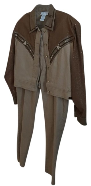 Item - Two Color Light Brown and Dark Brown One Button Gold On Both Pant Suit Size 6 (S)