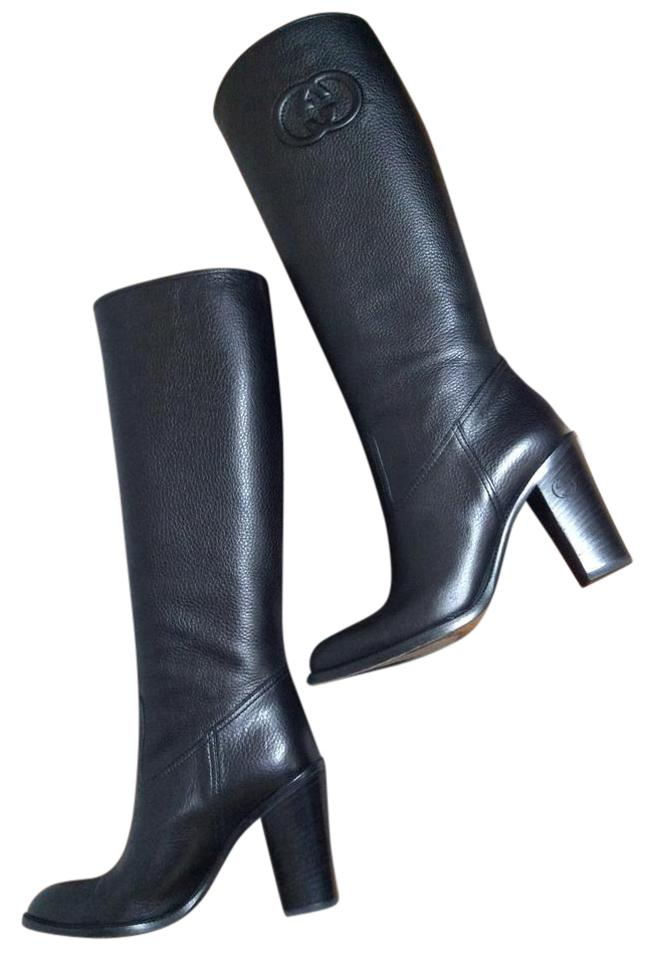 56cbee635113 Gucci Black Libeccio Light Tall Pebbled Leather Boots Booties Size ...