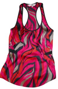 Trina Turk Silk Blend Racerback Abstract Top Multi-color