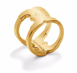 Tory Burch New Tory Burch Gemini Link 16k Gold Plated Ring Size 5 with Dust Cover