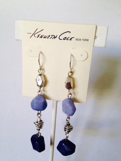 Kenneth Cole Shades Of Blue Long Geometric Stone Dangle Earrings