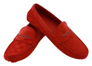 Louis Vuitton Damien Men Moccasins New Men Damier Rouge Flats