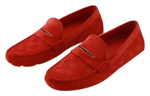 Louis Vuitton Men Men Damier Suede Moccasins New Rouge Formal