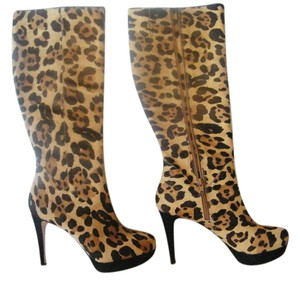 Antonio Melani Dyed And Sheared Calf Hair Leather Sock Leather Soles Zipped Opening Leopard Boots