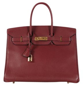 Hermès Red H Hr.l0127.15 Fjord Leather Satchel