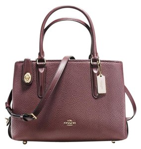 Coach Red Leather Brooklyn Satchel in oxblood / light gold