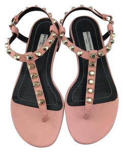 Balenciaga Studded T-strap Leather Pink Sandals
