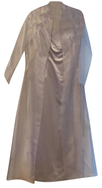 Item - Silver With Sheer Jacket Long Formal Dress Size 8 (M)