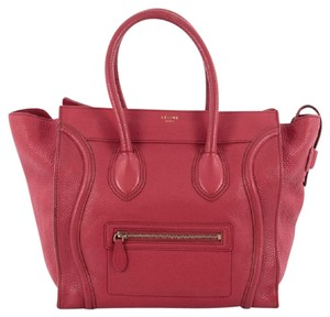 Céline Leather Tote in Red