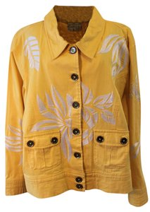 Casual Living Embroidered Embellished Sunburst Floral Denim Yellow Womens Jean Jacket