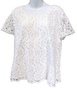 Talbots Lace Paisley Tunic Spring Top White