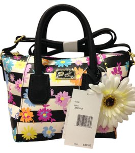 Betsey Johnson Nwt Color Stripes Satchel in Black, White & Multi Floral