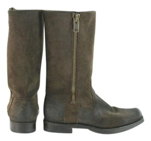 Frye Brown Suede Square Toe Mid-calf Boots