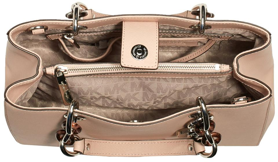 00cdde10a596 MICHAEL Michael Kors Cynthia Medium Saffiano Leather Satchel in Ballet /  Silver Image 7. 12345678
