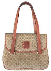 Céline Vintage Handbag Monogram Brown Satchel in Tan