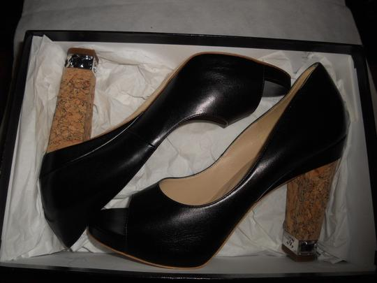 Chanel Cork Heel Chain Open Toe Black Pumps Image 4