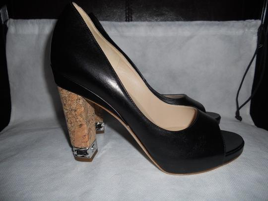 Chanel Cork Heel Chain Open Toe Black Pumps Image 5