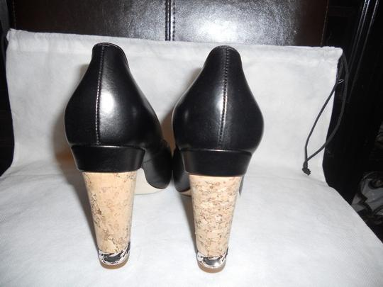 Chanel Cork Heel Chain Open Toe Black Pumps Image 9