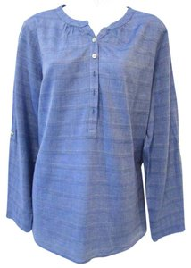 Talbots Buttons Mandarin Collar Tunic Cototn Top Cornflower Blue