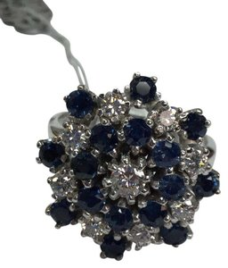 Other Estate 14 K White Gold Ring With Blue Sapphires and Diamonds