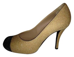 Chanel Hidden Platform Two Tone Glitter Beige/Black Pumps