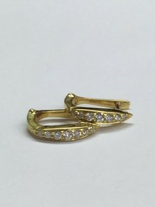 Other Estate 18 K Yellow Gold Hoop Earrings With Diamonds