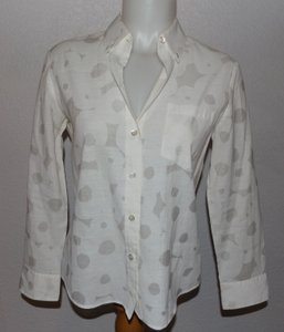 Theory Button Down Shirt White With Light Gray