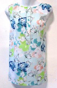 Talbots Floral Spring Feminine Colorful Top Blue