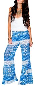 Show Me Your Mumu Robert's Party Teacup Tulips Bell Printed Stretchy Flare Pants Blue