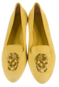 Alexander McQueen Sequin Skull Embellished Round Toe Gold Hardware Yellow, Gold Flats