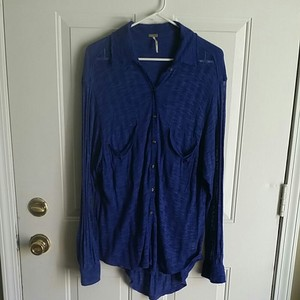 Free People Button Down Shirt fp beach blue