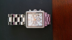 Michael Kors Michael Kors Stainless Steel Watch with Square Face and Crystal Bezel