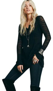 Free People Ribbed Up Layering Henley Black Longer Style Sweater