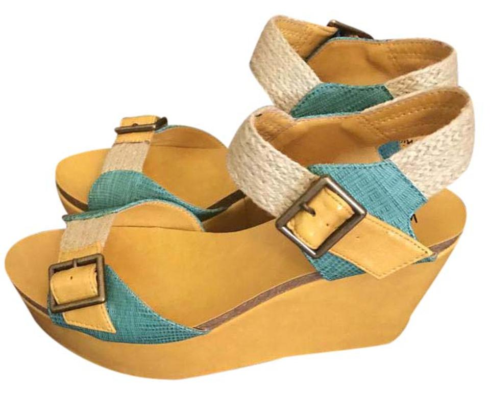 3266370e8098 Michael Antonio Mustard and Teal Gamine Color Blocked Platform Sandals