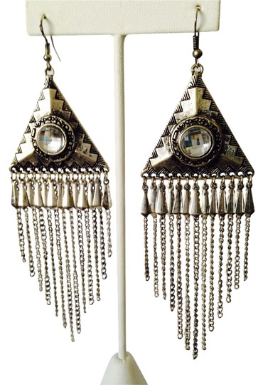 My Closet- Embellished by Leecia Silver Triangle Fringe & Crystal Dangle Earrings