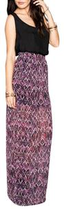 Show Me Your Mumu Siesta Printed Jewel Of The Nile Chic Bohemian Long Front Slit Maxi Skirt Purple