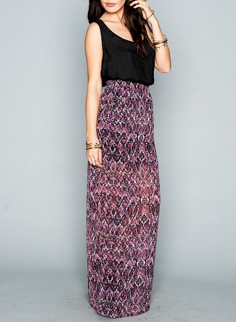 Show Me Your Mumu Long Front Slit Chic Bohemian Smym Boho Pretty Fall Winter Festival Maxi Skirt Purple/Black/White Image 1