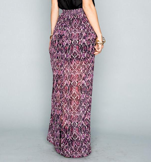 Show Me Your Mumu Long Front Slit Chic Bohemian Smym Boho Pretty Fall Winter Festival Maxi Skirt Purple/Black/White Image 2