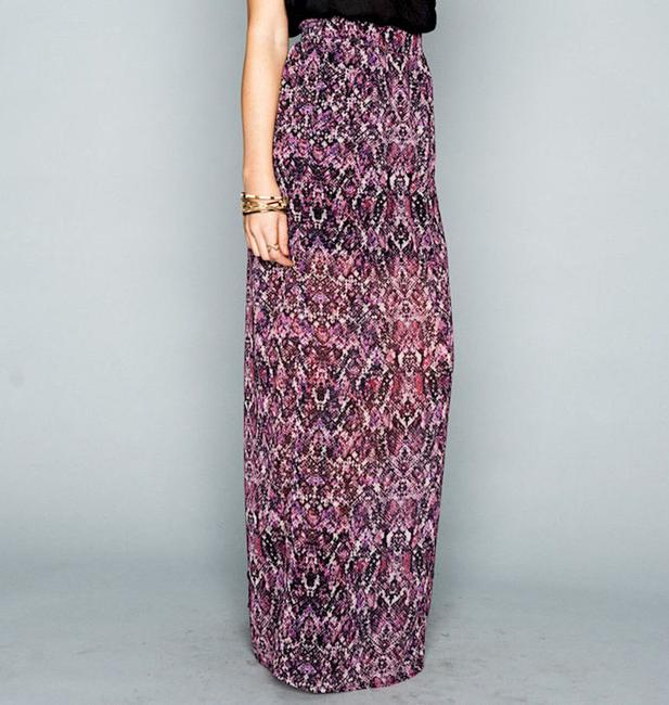 Show Me Your Mumu Long Front Slit Chic Bohemian Smym Boho Pretty Fall Winter Festival Maxi Skirt Purple/Black/White Image 3