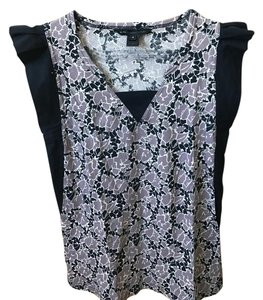 Marc by Marc Jacobs Patterned Cotton Top Black & Mauve/Beige