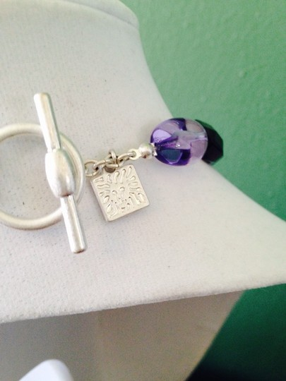 Anne Klein Amethyst & Glass Toggle Necklace