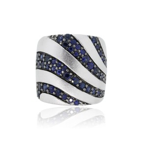 EFFY Effy Sterling Silver Blue Sapphire Band Ring