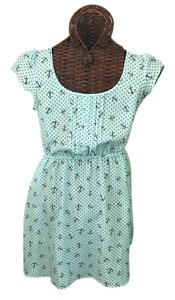 Xhilaration short dress Aqua blue with navy anchors on Tradesy