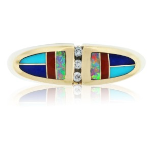 Kabana KABANA 14KT YELLOW GOLD DIAMOND, ENAMEL, AND OPAL COCKTAIL RING