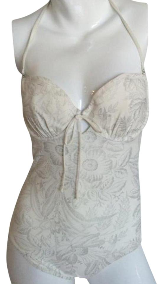 b25a4d1b46 SHAN White/Silver One-piece Bathing Suit Size 8 (M) - Tradesy
