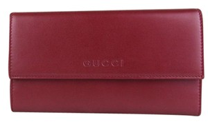 Gucci Women's Candy Red Metallic Leather Wallet w/logo 257303 6523