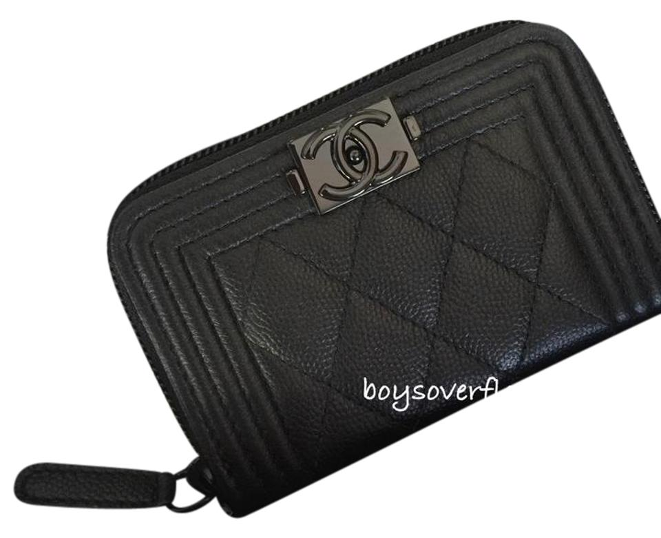4877b82ae2b7 Chanel BINB 17S So Black Quilted Boy O Zip Coin Purse Card Holder Case  Wallet Image ...