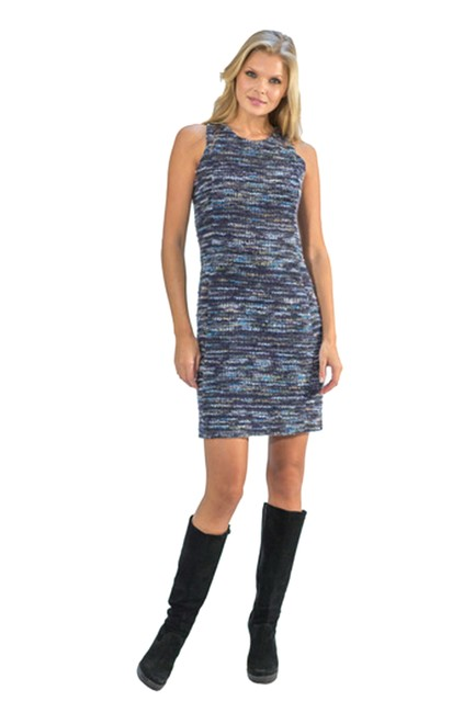 Amy Matto Concealed Zip Back Lined Lurex Detail Knee Length Dress Image 0