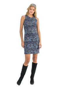 Amy Matto Concealed Zip Back Lined Lurex Detail Knee Length Dress